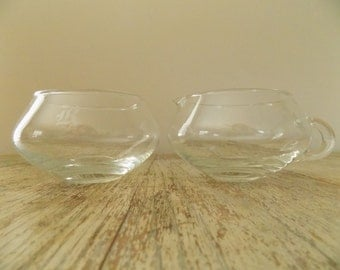 """Vintage Monogramed """"R"""" Blown Glass Mid Century Cream and Sugar Set 