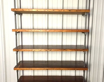 Reclaimed Wood Pipe Shelving   Antique Rustic Reclaimed Wood   Loft Style  Bookcase   Storage Shelves