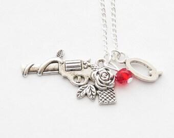 Gun Charm Necklace Pistol Necklace Monogram Gun Necklace Silver Pistol Necklace Revolver Necklace Letter Necklace Police Necklace