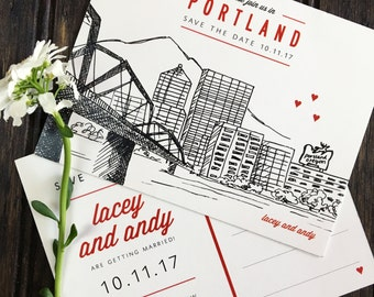 LACEY (Portland, Oregon Waterfront) - Customizable Save the Date Postcard