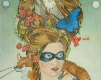 Emily and Laser Fox, Chrono-detectives - limited edition print of original mixed media painting