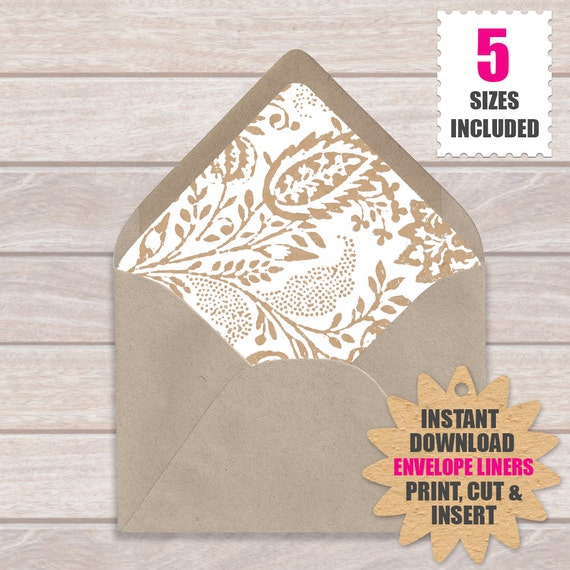 Envelope Liner Template Floral Kraft  Download And Print These