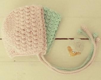 crochet baby bonnet - newborn hat - bonnet baby props - baby hat photo props - handmade props - baby crochet - newborn knit bonnet props