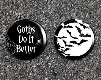 Goths Do It Better & Bats 1 Inch Pinback Button Set [2]