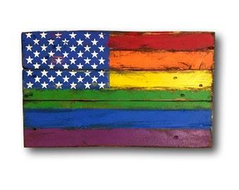 Wood Pride Flag / Gay Pride Flag / LGBT Flag / Pallet Wood Pride Flag / American Pride Flag / Rainbow Flag / Pride Gift / LGBT Pride Flag