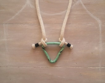 TAURUS. Rope necklace / polymer clay necklace / geometric necklace / triangle necklace / turquoise necklace / cotton rope necklace / tassels