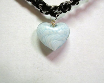 OOAK Hand Made Dichroitic Glass White Heart Pendant on a Silver and Black Braided Satin Necklace Choker 06