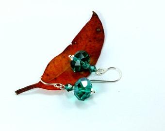 Emerald Swarovski Earrings, Sterling Silver Earrings, May Birthstone, Green Swarovski Crystal Earrings, Emerald Earrings, Swarovski Crystal