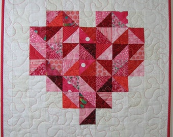 Modern Quilted Wall Hanging , Valentine's Day Wall Hanging ,  Red and Pink Scrappy Heart Wall Hanging , Quiltsy Handmade