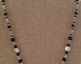 Onyx, Swarovski Crystal, Sterling Silver Necklace (N7)