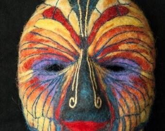Mariposa, an original needle felted wall mask