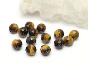Faceted Genuine Tigers Eye Ball Beads 6mm 12pcs