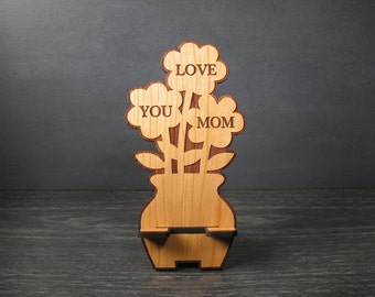 Mother's Day Gift - Wooden Flower Phone Stand with Personal Message On Back -Birthday Gift For Mom - Phone Dock - Fits all iPhone and Galaxy