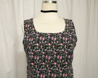 90s Vintage. Floral. Grunge.Pink. Purple. Faded Black. Fitted. Dress