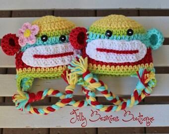 Sock Monkey Hat, Baby Hats, Monkey Hats, Twin Hats, Baby Boy Hats, Boy Hats, Girl Hats, Crochet Hats, Photo Prop, Children Hats, Kids Hats