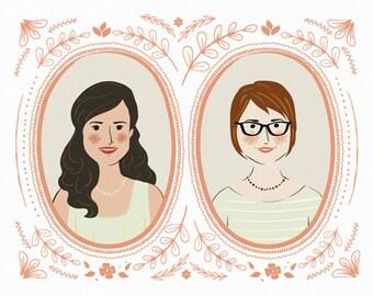 Couples Portrait Illustration, unique wedding gift, anniversary gift, portrait art print, custom wedding gift idea - Unframed