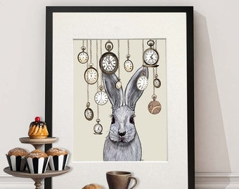 Alice in Wonderland Print - Rabbit Time - white rabbit alice in wonderland decor rabbit art rabbit print rabbit painting rabbit wall art