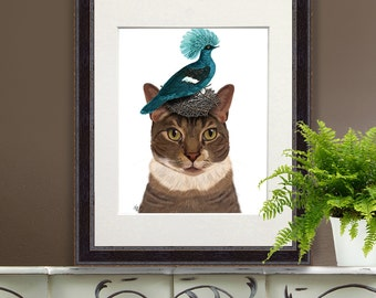 Calico cat wall art - Blue pigeon and Nest calico cat art print calico cat print tabby cat gift for cat lover home decor pet gift pigeon art