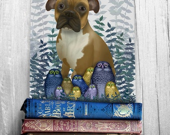 Boxer dog print - Boxer and Owl print -  boxer print Whimsical dog art Boxer painting boxer dog decor dog lover gift unique gift owl art