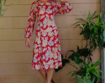 Vintage 60's Dress / Floral Midi Dress / Sheer Sleeves / Large