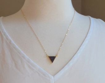 Mystic Purple Druzy Triangle Pendant Necklace - Purple Druzy Necklace - Triangle Necklace - Layering Necklac