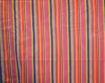 Vintage Hippie colourful Striped Corduroy Fabric Piece - 35 inches by 100 inches