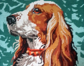 Alert red spaniel -  hand stitched needlepoint tapestry ideal for wall/cushion/pillow/bag/stool/chair cover