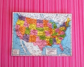 Miniature Vintage United States Of America Map (playscale 1/6 scale dollhouse diorama play mini for dolls) USA American