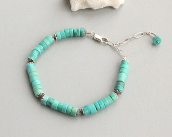 Turquoise bracelet, sterling silver 925 , Handcrafted  bracelet