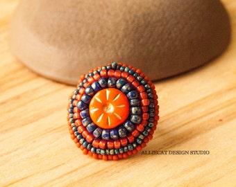 Bohemian Ring, Boho Orange and Navy Daisy Ring (Adjustable)