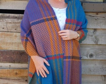 Shawl, handwoven shawl, wrap, wool shawl, alpaca shawl, large scarf, pheasant, Scotland