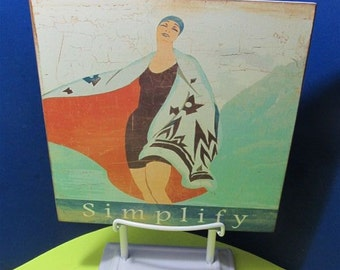 NEW Metal Vintage Style Art Deco Poster Bathing Suit Beauty Ladys Art Figurine Stand