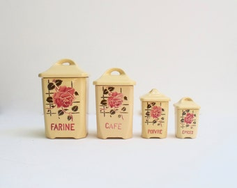 French set of Four Porcelain Faience Storage Jars Badonviller Shabby Chic Roses