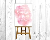 Wedding Welcome Sign / Pink Watercolor / Pick your size & fonts!  >> Digital File, Poster Print, or Foam Board Print >> FREE Shipping