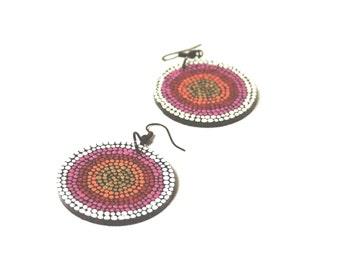 Mexican Jewelry - Wooden Earrings Mandala Earrings Colorful Dangle Earrings Laser Cut Wood Lightweight Earrings