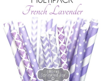 Purple Paper Straws, FRENCH LAVENDER Multipack, Chevron, Dots, Damask, Stripe, purple, lilac, wedding, party, birthday, shower, bulk