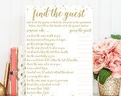 Find the Guest Bridal Shower Game - Bridal Shower Game - Instant Download - Bridal Shower Printable - White Gold BRS1