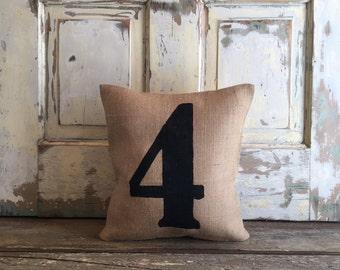 Burlap Pillow - Number Pillow | Personalized pillow | House Number Pillow | Address pillow- As seen in HGTV Magazine