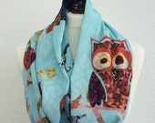 Owl Scarf, Blue and Colorful Owl Infinity Circle Scarf, Spring Soft Cotton Owl Loop Scarf, Women, Fashion Accessory, Fast Delivery