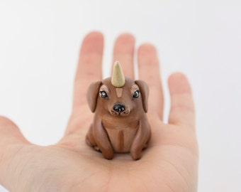 Chocolate Unidog Brown dachshund figurine Wiener dog figurine Wienercorn