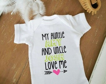 My Aunt and Uncle Love Me Boho Arrow CUSTOMIZE NAME and Heart Color Baby Neutral Bodysuit