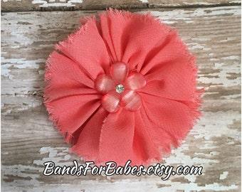 Coral Frayed Chiffon Flower Hair Clip, Girls Peach Flower Alligator Clip, Toddler Hair Accessory, Flower Girl Hair Piece, Bridesmaid Bow