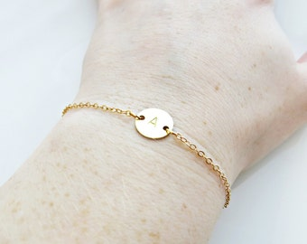 Gold Initial Bracelet - Hand Stamped Customized Letter