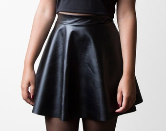 Faux Leather Skater Skirt (Made to Order)