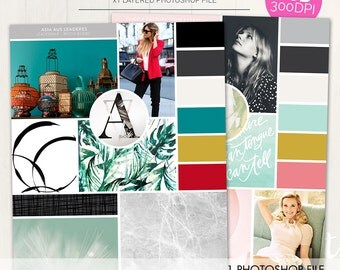 Photoshop Mood Board Template/Inspiration board for your brand identity, event planning, color palette, style board + more (MB02)