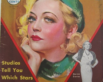 Original December 1933 Marion Davies Movie Classic Magazine Cover By Marland Stone - Hollywood's Golden Age - Free Shipping