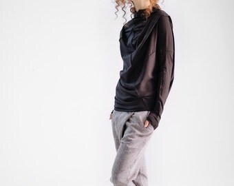 NEW / Dark Brown Top/ Loose Dark Brown Blouse/ Oversized Blouse/ Asymmetrical Black Top by AryaSense/ TPRD15BR