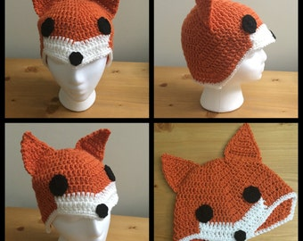 Crochet Adult Hat - Red Fox - Animal - Forest - Costume  - Fashion - Handmade - Head Accessory