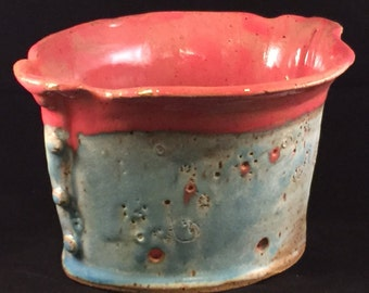 Handcrafted Stoneware Pottery Colander or Berry Bowl