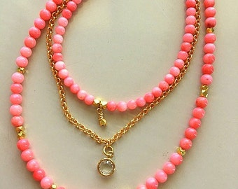 Genuine Natural Angel Skin/Salmon Coral Multistrand Layered Necklace With Gold Vermeil Lotus Heart